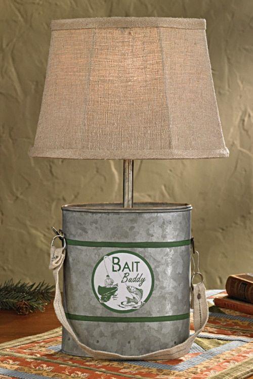 Minnow Bucket Lamp With Shade Fishing Decor Bucket Light Fishing Bedroom
