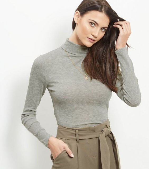 Grey Turtle Neck Cropped Long Sleeve Top  | New Look