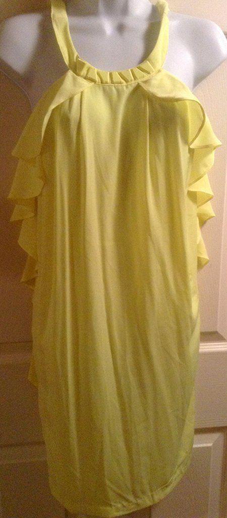 H&M yellow ruffle shift/shirt $36