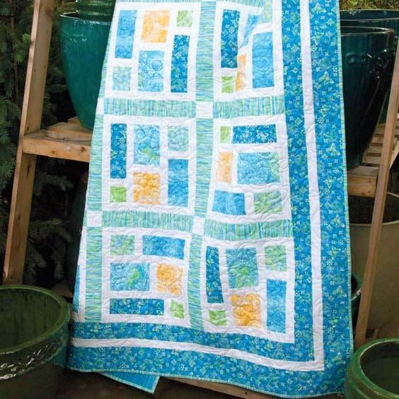 SEA GLASS Beach colors one-block lap quilt pattern Designed by KATE COLLERAN One simple-to-piece ...