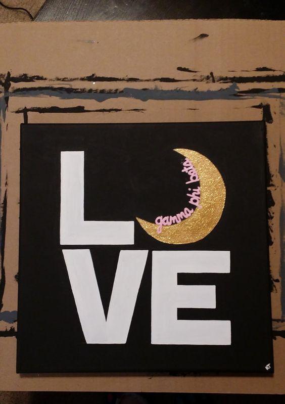 Gamma Phi Beta LOVE with Crescent Moon Sorority Artwork 12 x 12 Canvas