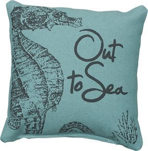 pillows-sealife-6inch square Blue Cotton Seahorse Pillow