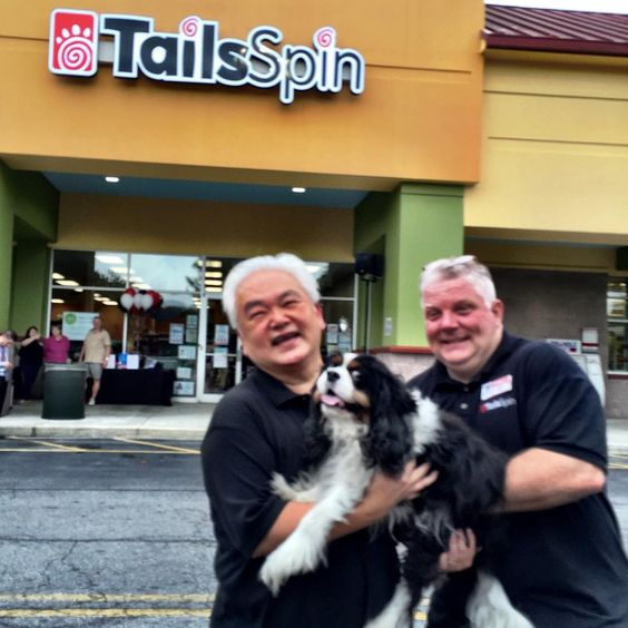 CONGRATS to my best bud's Jusak & Jeff (owners of Tailsspin Pet Store) on the Grand Opening of their NEW Store. We're honored my Ollie B. Biscuits are part of your growth!! Woof!! Hey easy back there Jeff, don't drop The Mascot  @tailsspinpets --------------------------- #tailsspin #Savannah #madeinthesouth #shopsavannah #localsavannah #cavalierkingcharles #cavaliersofthesouth #cavaliersofinstagram #cavalierkingcharlesspaniel . -----------------------------