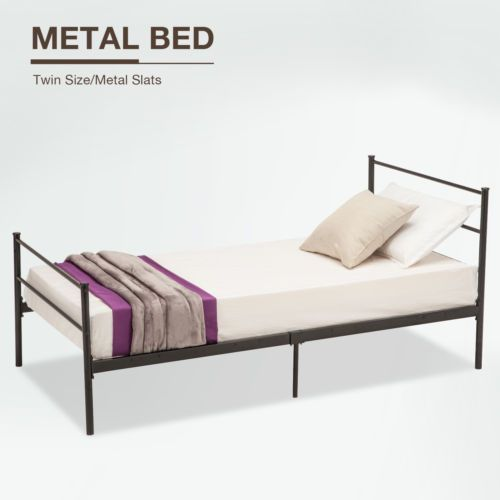 Twin Size Platform Metal Bed Frame Foundation Headboard Furniture Bedroom Www Homedecortips On Twin Size Metal Bed Frame Headboards Furniture Metal Bed Frame