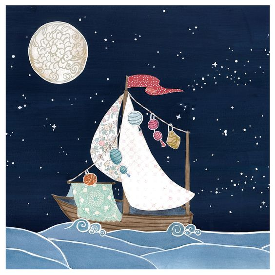 Boat Ship Sail Night Sky Stars Moon Cut Paper Drea - Print of Original Painting Collage by Paper Taxi. $18.00, via Etsy.