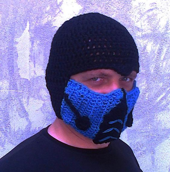 Crocheted Mortal Kombat Inspired Sub Zero Mask Hat Bicycle Winter Men Snowboard Ski Hat Costume hat on Wanelo