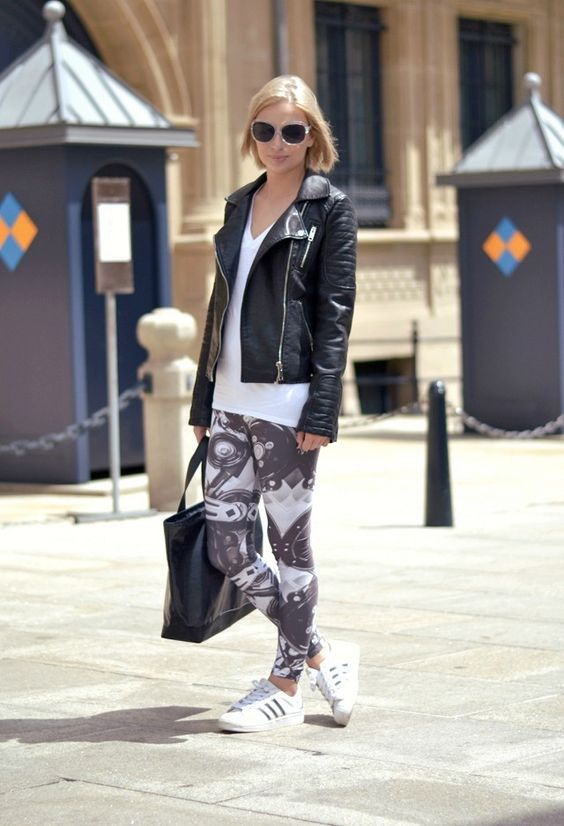 Belgium fashion blogger turn it inside out wearing zara leather jacket, h&m basic v neck tshirt, mr gugu & miss go machine leggins, adidas s...