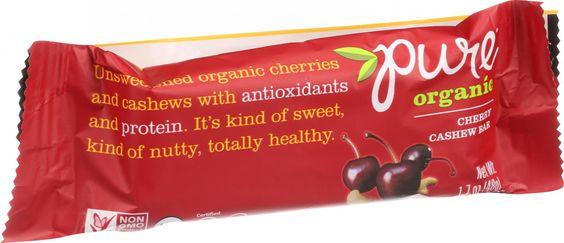 Pure Organic Pure Fruit and Nut Bar - Organic - Cherry Cashew - 1.7 oz Bars - Case of 12