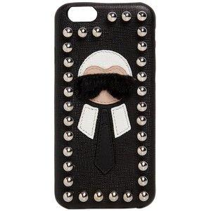 FENDI Karlito Studded Saffiano Iphone 6 Case - Black