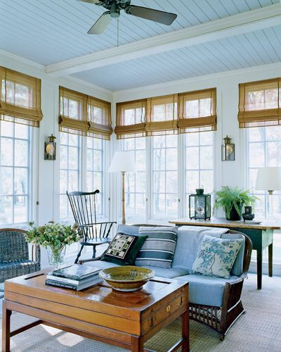 Sheer curtains with bamboo roman shades | British Colonial Style ...