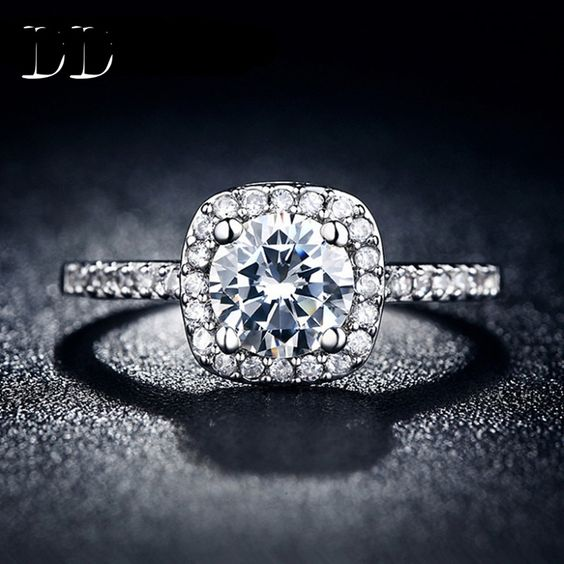 DD hot sale classic squre white gold plated jewelry engagement