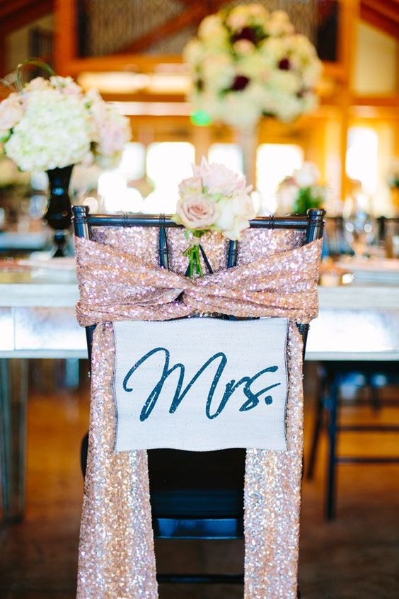 Pink Sequin Chair Sash for the Mrs. | Twilight Metallic Glam Wedding At Sacred Oaks at Camp Lucy Texas | Photograph by Al Gawlik Photography http://storyboardwedding.com/twilight-metallic-glam-wedding-sacred-oak-camp-lucy-texas/: