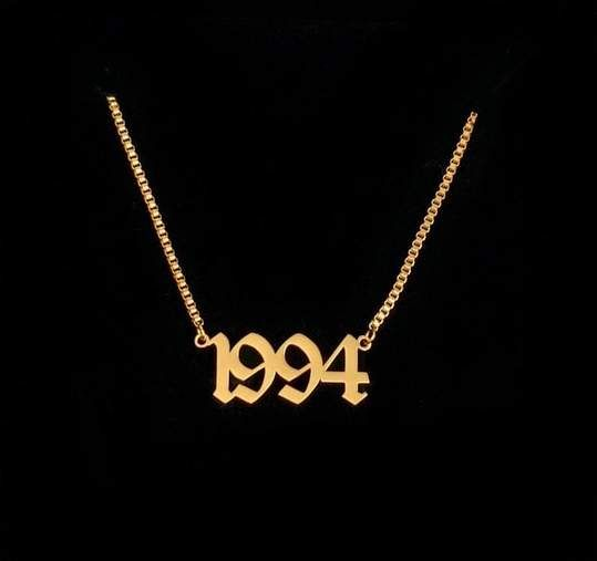 Box Chain Old English Birthdate Necklace Old English Initial Necklace Old English Font Tattoo Old English