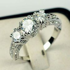 Size 5-12 White Sapphire Silver Wedding Ring 10KT White Gold Filled Jewelry: