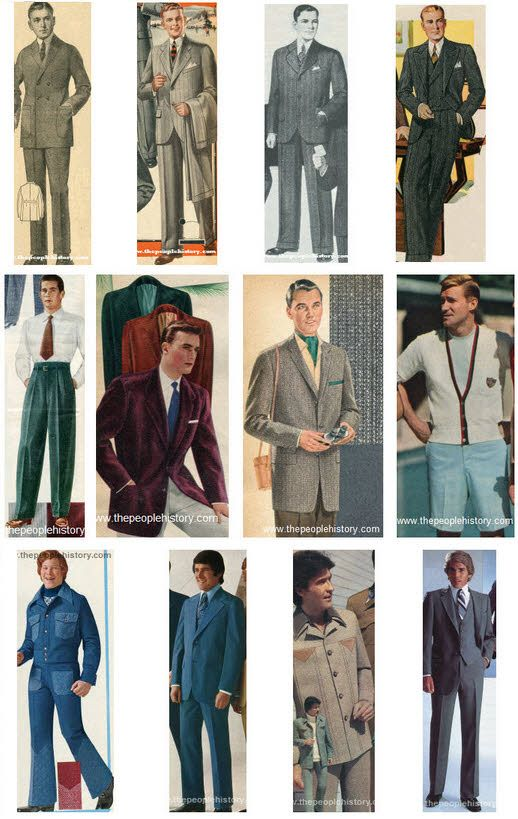 Fashion Thru The Years Mens Clothing Styles Examples Through The Decades Menswear Pinterest