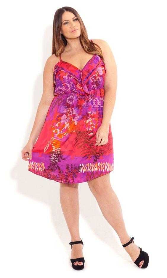 Plus Size Romantic Frill Dress - City Chic - City Chic