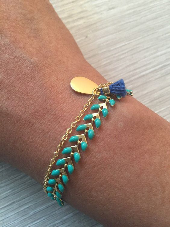 Delicate mint and gold bracelet birthday present by dewandrose