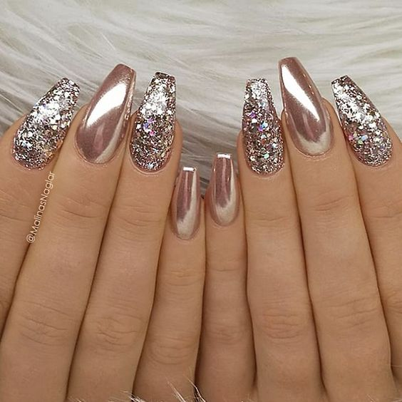 TheGlitterNail   Blush Pink Glitter and Metallic Shiny Nail Art Design   30 Best Bridal Nail Art Designs That Will Trend This Year!   Function Mania   bridal nail polish, wedding nail art, Indian bridal nail art designs, gorgeous wedding nail art designs, wedding nails with glitter, bridal themed nail art, bridal nails, copper glitter nail art #bridalnailart #latestbridalnailartideas #bridalnailart  
