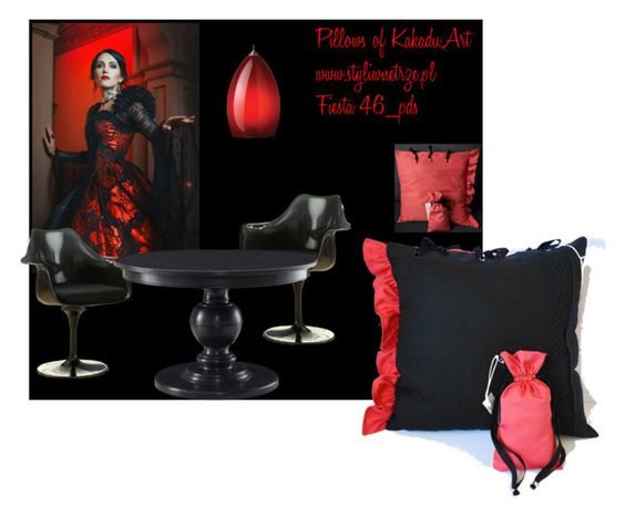 Styling Idea by KakaduArt by kakaduart on Polyvore featuring interior, interiors, interior design, dom, home decor, interior decorating, Rove Concepts and Tech Lighting, pillows, frill, red, black