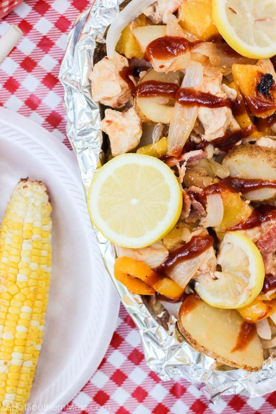 Juicy grilled chicken is paired with fresh pineapple, lemon, sweet onion, and potatoes, drizzled with sweet bbq sauce and some extra spice, and then slipped into some tin foil and kissed on the grill. There's no mess to clean up with this all-in-one meal, no dish that got dirty, and likely no leftovers because frankly, it is just that damn good. www.ahotsouthernmess.com