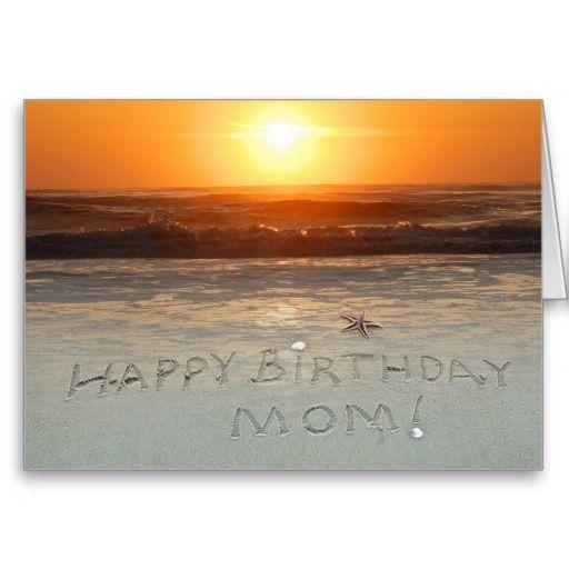 Happy Birthday Beach Theme Mom Sand Writing At The Greeting