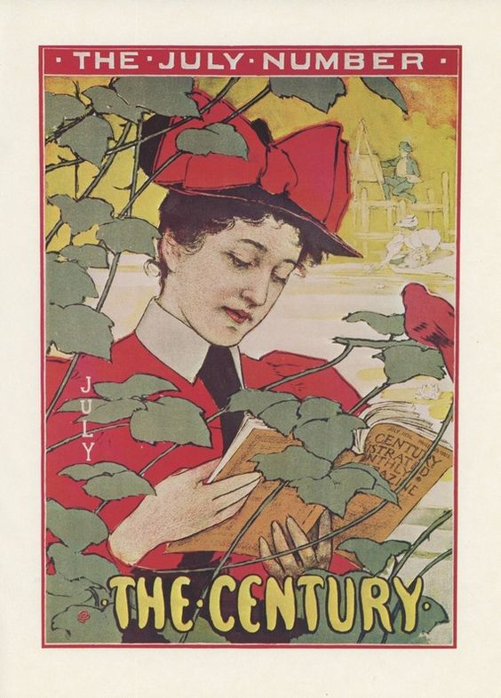 The Century July Number, Woman Reading A Book With Red Dress And A Huge Red Bow On Her Hat, Red Cardinal, American Poster Print, Printed In The United States Of America, Vintage 1976