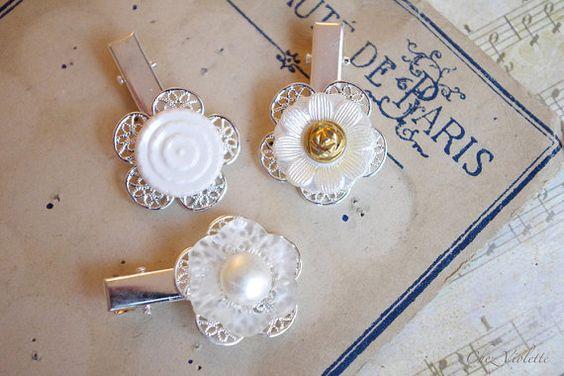 Girl hair clips wedding Hair clip set flower by chezviolette