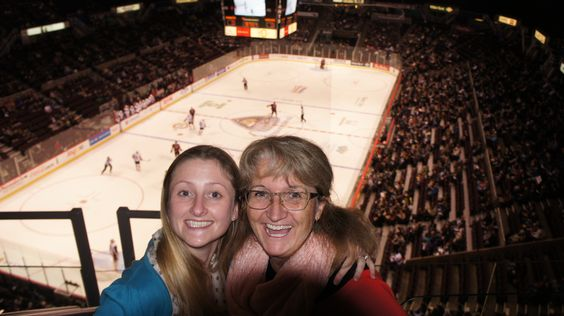 Vancouver, BC - Nov 2012 -- Superfans  Charlotte & Diane at Giants hockey game at Coliseum.