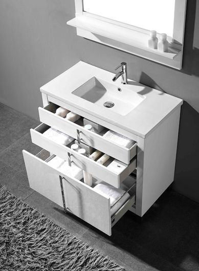 Adornus Turin 30 Inch White Modern Bath Vanity With Images