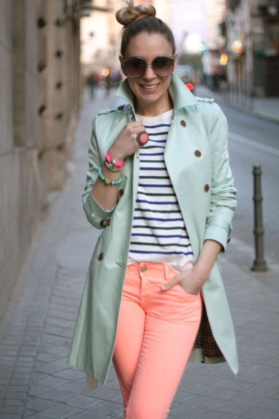 Pops of bright pastels and stripes. #springfashion #pastel #stripes #trench