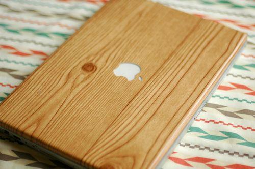 Faux wood grain laptop wrap