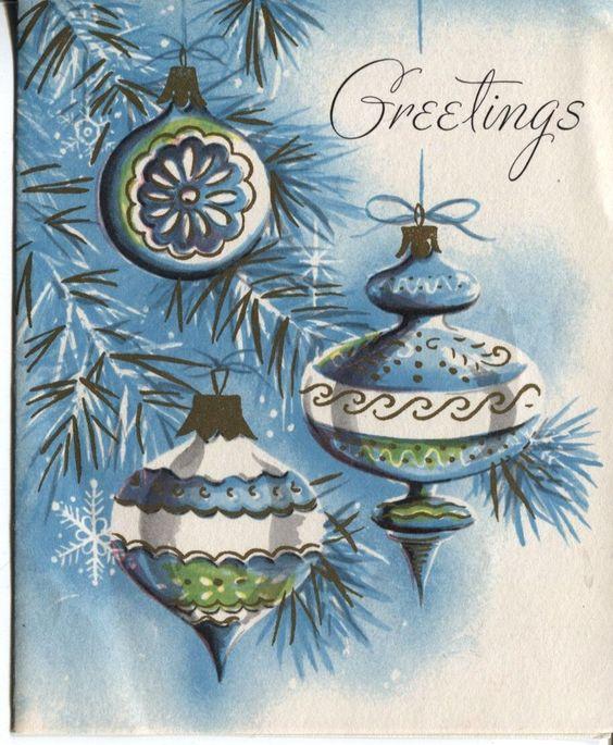 Vintage Sangamon Christmas Card Old Fashioned Ornaments