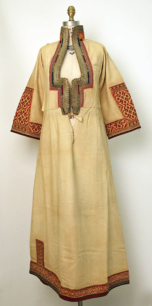 Embroidered shirt, 1800. Looks more like a caftan/dress. :) The Met lists the origins of this piece as European although it clearly has other cultural influences from the East.