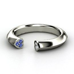 Two Hearts Ring, Sterling Silver Ring with Sapphire