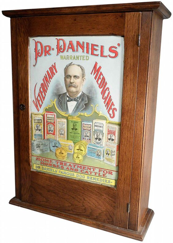 David Olson over at Bottle Collectors on facebook posted this wonderful Dr. Daniels' Veterinary Medicines cabinet from the Jack Stecher collection (pictured above). This cabinet really rocked my so...