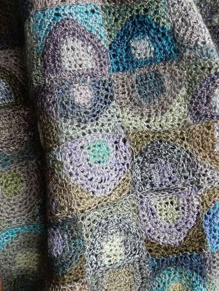 """6 x 40 inches of a modern design in hand crochet, """"Eggs"""" scarf by Sophie Digard."""