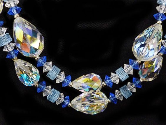 VENDOME BLUE~AB FACETED PEAR CRYSTAL~FLUTED~RONDELLS~ DOUBLE STRAND ~NECKLACE #Vendome #DOUBLESTRANDNECKLACE
