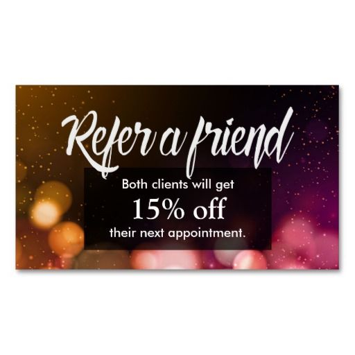 Referral Card Modern Sparkles Salon Spa Double Sided
