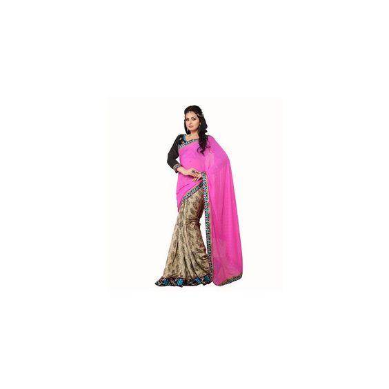 Viva N Diva Pink & Beige Color Georgette Jacquard & Cotton Jaquard Saree.  http://goo.gl/05ODMq