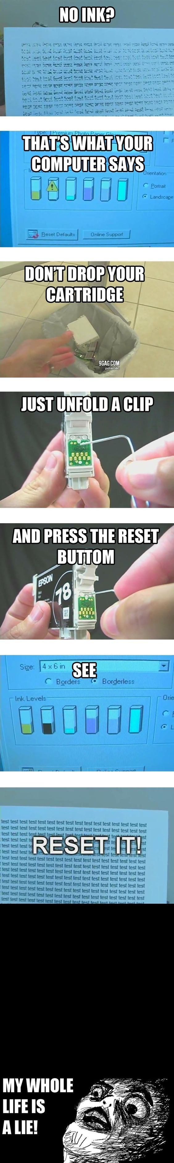 """With Canon cartridges, you just press and hold the """"Stop/Reset"""" button for five seconds when it says you're out of ink.  You need to be sure to remove the cartridge when it's actually empty, otherwise it could damage your printer.  Also, don't run maintenance when a cartridge is empty.  Once you replace it, the printer will begin monitoring ink levels again."""