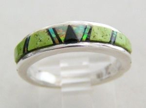 Gaspeite & Opal Navajo Beautiful Inlay Sterling Silver Ring - 7 1/2     Four Corners USA Native American Indian Jewelry Collection