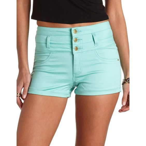 Charlotte Russe Refuge Colored High-Waisted Shorts ($12) ❤ liked on Polyvore featuring shorts, bottoms, pants, mint, hot pants, high waisted hot pants, micro shorts, high waisted zipper shorts and short shorts