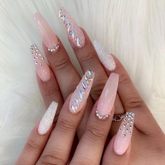 56 Elegant Rhinestone Nail Art Designs Diamond Nail Designs Nails Design With Rhinestones Coffin Nails Designs