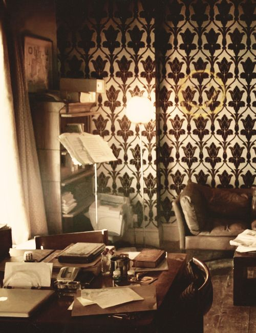 """""""We met next day as he had arranged, and inspected the rooms at No. 221B, Baker Street, of which he had spoken at our meeting. They consisted of a couple of comfortable bed-rooms and a single large airy sitting-room, cheerfully furnished, and illuminated by two broad windows"""".  — A Study in Scarlet"""