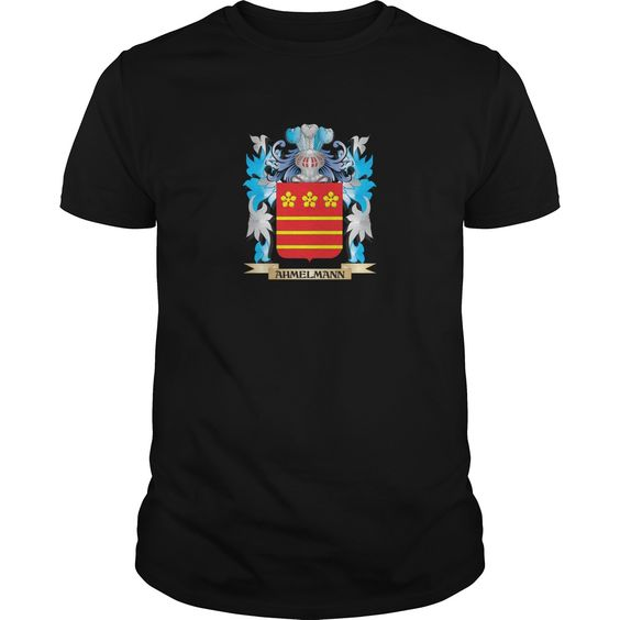 Ahmelmann Coat Of Arms - Perfect for Ahmelmann family reunions or those proud of their family Ahmelmann heritage.  Thank you for visiting my page. Please share with others who would enjoy this shirt. (Related terms: Ahmelmann,Ahmelmann coat of arms,Coat or Arms,Family Crest,Tartan,Ahmelmann...)