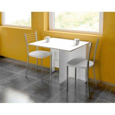 Pack de Mesa Abatible con cuatro sillas para cocina o sala está compuesto por una mesa elegante realizada en aglomerado melaminizado ademas de cuatro sillas metálicas con estructura metálica gris y tapizadas en blanco.