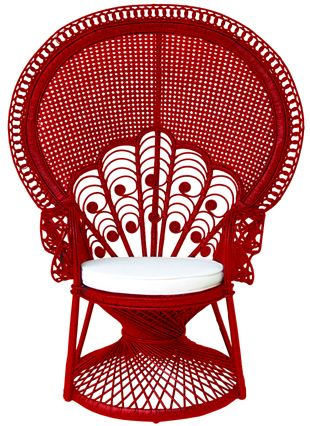 Peacock rattan chair with cushion with chilli red color code : WN108RN