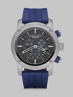 Burberry - Chronograph Watch with Rubber Strap - Saks.com  $495.00
