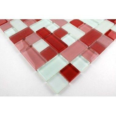 Carrelage mosaique verre faience salle de bain cubic rouge for Faience rouge pour salle de bain