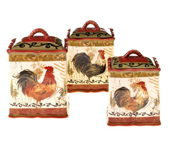 Tuscan Rooster 3-Piece Canister Set